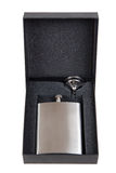 Stainless hip flask in a black gift box Royalty Free Stock Photo