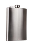 Stainless hip flask isolated Royalty Free Stock Images