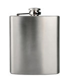 Stainless hip flask isolated on white background Stock Photos