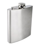 Stainless hip flask isolated on white background Stock Images