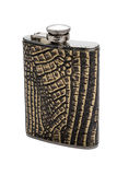Stainless hip flask Royalty Free Stock Photography