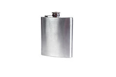 Stainless hip flask isolated on a white background. Alcohol addi Royalty Free Stock Images