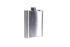Stainless hip flask isolated on a white background. Alcohol addiction. Royalty Free Stock Photography