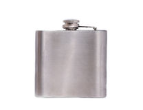 Stainless hip flask isolated on white background closeup Stock Photography