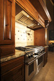Stainless kitchen oven range and hood. A new home's very expensive kitchen range and hood Royalty Free Stock Photo