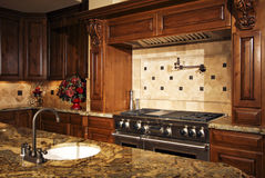 Stainless kitchen oven range and hood. A modern new home's fully equipped kitchen Royalty Free Stock Photo