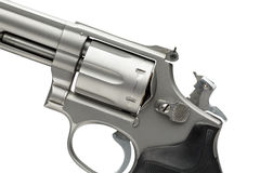 Stainless 357 Magnum Revolver Cocked on White. 357 Magnum Revolver Cocked on White royalty free stock image