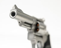 Stainless 357 Magnum Revolver Cocked on White Royalty Free Stock Photos