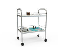 Stainless metal medical supply cabinet placed on a trolley Royalty Free Stock Photos