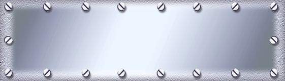 Stainless metal plate background. A silver metal background framed by screws vector illustration