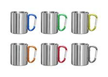 Stainless mug on isolated background with clipping path. Tin cup and handle clip for your design vector illustration