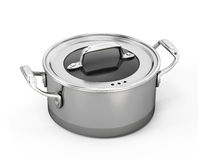 Stainless pan isolated on white Royalty Free Stock Photos