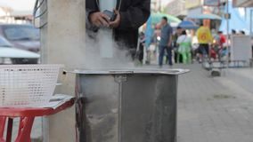Stainless pot with steam in market, Thailand Stock Photography