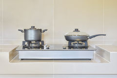 Stainless pots in modern kitchen Royalty Free Stock Photos