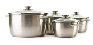 Stainless pots on a white Royalty Free Stock Photography