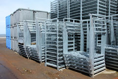 Stainless racks & plastic totes. Stock Image