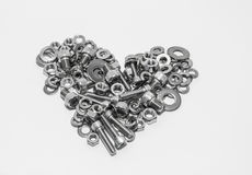 Stainless screws,Heart shape Stock Photos