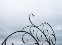 Stainless sculpture in the light fog. stock photo