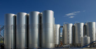 Stainless steel. Reservoirs for wine Stock Photography