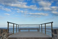 Stainless steel balcony banister to atlantic ocean Stock Photo