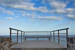 Stainless steel balcony banister to atlantic ocean Stock Photo
