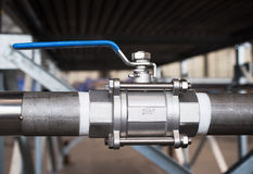 Stainless steel ball valve Stock Photo