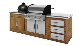 Stainless steel barbecue with grill on the wooden table Stock Photography