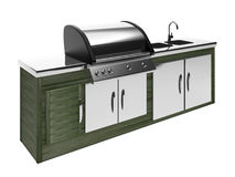 Stainless steel barbecue with metal table Royalty Free Stock Photo