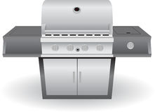 Stainless Steel Barbeque (BBQ) Grill. Shiny metal outdoor cooking appliance (barbeque/bbq) grill stock illustration