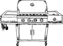 Stainless Steel Barbeque (BBQ) Grill - B&W. Metal outdoor cooking appliance (barbeque/bbq) grill - black and white royalty free illustration