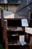 Stainless steel beams deposited in stacks Royalty Free Stock Photo