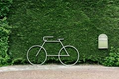 Stainless steel bicycle. Against green hedge Royalty Free Stock Photos