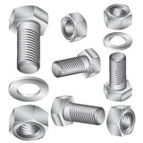Stainless steel bolt and nut. Stock Image