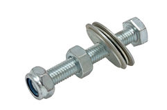 Stainless steel bolt and nut Royalty Free Stock Images