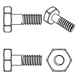 Stainless steel bolt and nut. Vector illustration. Royalty Free Stock Image