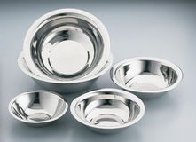 Stainless steel bowls Royalty Free Stock Image