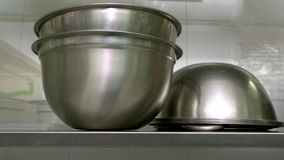 Free Stainless Steel Bowls At Kitchen Close Up. Royalty Free Stock Photography - 138498967