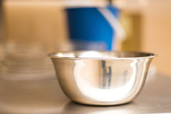 Stainless steel bowls. Kitchen product. Food accessory. Stock Images