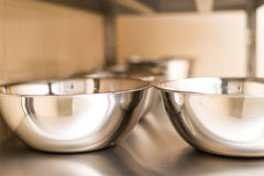 Stainless steel bowls. Kitchen product. Food accessory. Royalty Free Stock Image