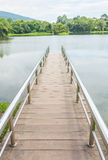 Stainless steel bridge or pier at lake Stock Images