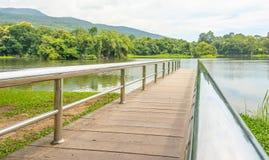 Stainless steel bridge or pier at lake Royalty Free Stock Photo