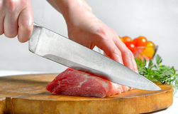 Stainless steel butcher knife Royalty Free Stock Photography
