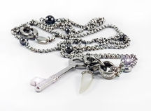 Stainless steel chain with key Stock Images