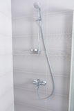 Stainless steel and chrome shower fittings Royalty Free Stock Image