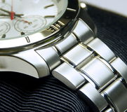 The stainless steel of chronograph watch. Closeup Stock Images