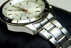 The stainless steel of chronograph watch. Closeup Royalty Free Stock Photos