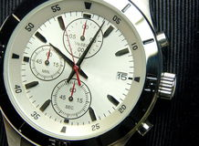 The stainless steel of chronograph watch. Closeup Stock Photo