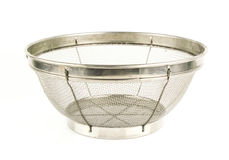Stainless Steel. Colander isolated on white Stock Images