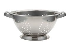 Stainless Steel Colander. Isolated on white with a clipping path. The image is in full focus, front to back Royalty Free Stock Images