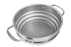 Stainless steel colander Royalty Free Stock Photography